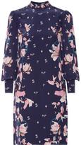 Erdem Mirela Floral-print Silk Crepe De Chine Dress - Navy