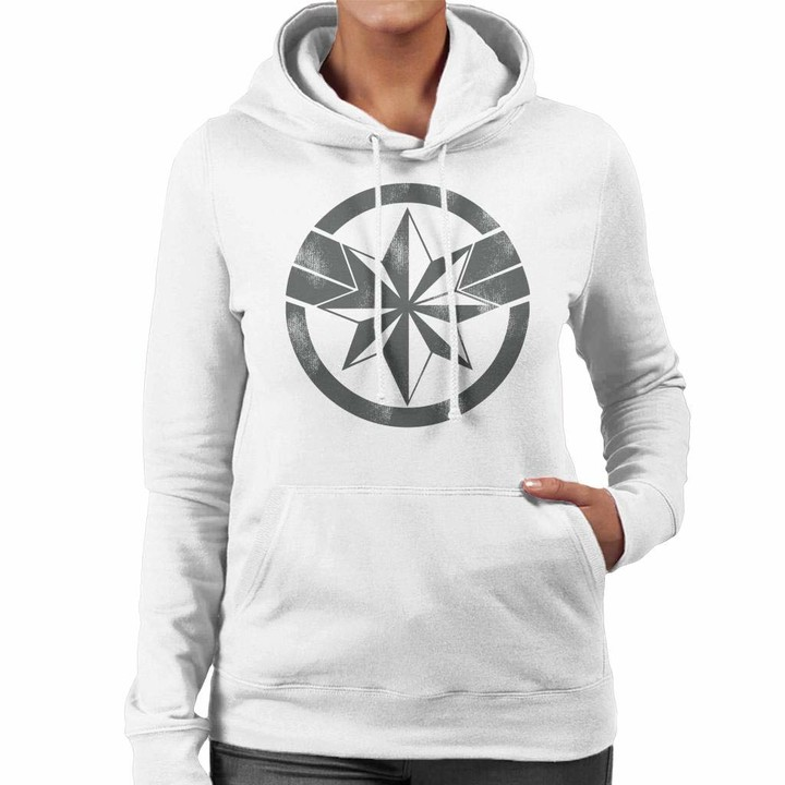 Thumbnail for your product : Marvel Captain Distressed Logo Women's Hooded Sweatshirt White