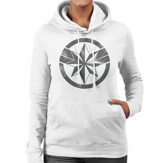 Marvel Captain Distressed Logo Women's Hooded Sweatshirt White