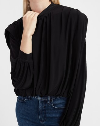 Express Padded Shoulder Ruched Top