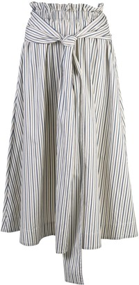 Rosetta Getty Striped Flared Midi Skirt