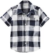 Osh Kosh Toddler Boy Short Sleeve Button-Down Navy & Ivory Buffalo Plaid Shirt