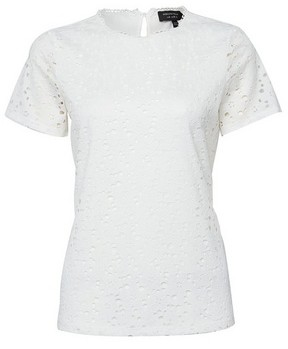 Dorothy Perkins Womens White Lace Fitted Blouse, White
