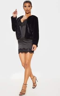 PrettyLittleThing Black Cropped Faux Fur Jacket
