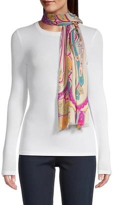 Etro Calcutta Paisley Swirl Wool & Silk Scarf