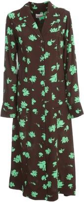 Ganni Printed Crepe Long L/s Dress