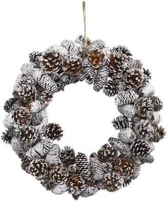 west elm Faux Snowy Pine Cone Wreath