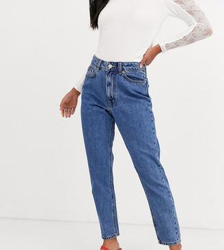 Vero Moda Petite high waist ankle grazer mom jean in medium blue