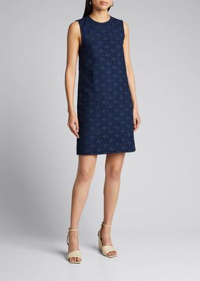 Carolina Herrera Eyelet Sleeveless Shift Dress