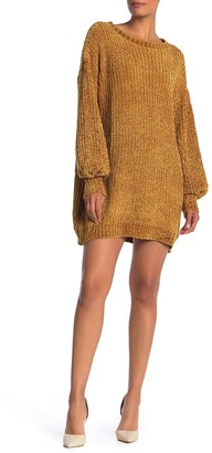Angie Chenille Balloon Sleeve Sweater Dress