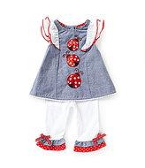 Rare Editions Baby Girls 3-24 Months Ladybug-Applique Chambray Top & Ruffle-Hem Leggings Set