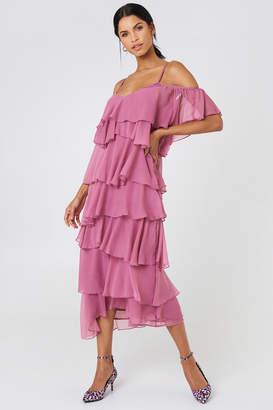 NA-KD Cold Shoulder Flounce Midi Dress Pink