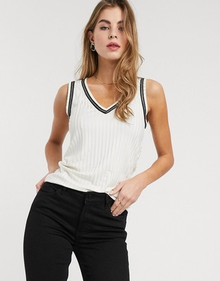 Morgan pleated top with contrast trims in cream