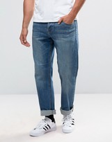Asos Stretch Straight Jeans In Mid Blue
