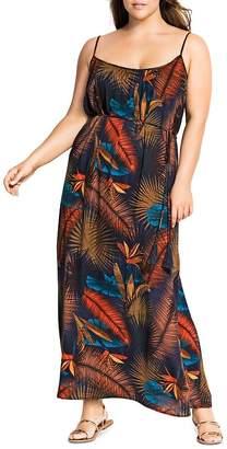 City Chic Plus Bay Islands Tropical-Print Maxi Dress