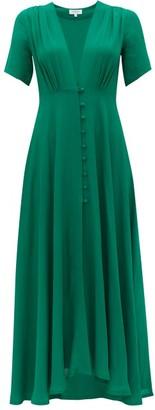 Gioia Bini Carolina Gathered Cady Midi Dress - Womens - Green