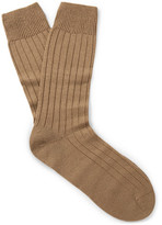 Pantherella Packington Ribbed Merino Wool-blend Socks - Camel