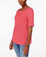 Karen Scott Elbow-Sleeve Zip-Shoulder Top, Only at Macy's