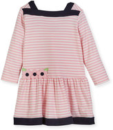 Florence Eiseman Striped Interlock Knit Dress w/ Floral Appliqué, Size 2-4