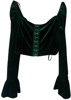 Non Signé / Unsigned Non Signe / Unsigned Green Velvet Top for Women