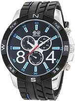 Crosshatch Men's Quartz Watch with Black Dial Analogue Display and Black Silicone Strap CRS32/A