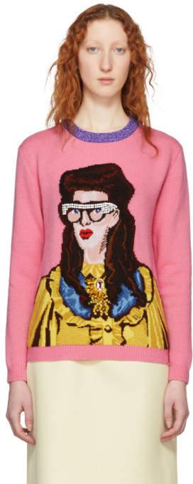 Gucci Pink Jacquard Woman Sweater