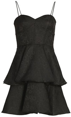 ML Monique Lhuillier Jacquard Tiered Ruffle Dress
