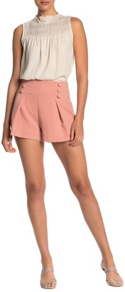 Do & Be Button Detail High Waist Crepe Shorts