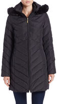 Ellen Tracy Faux Fur-Trimmed Quilted Coat