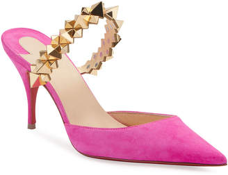 Christian Louboutin Planet Suede Spike-Strap Red Sole Mules