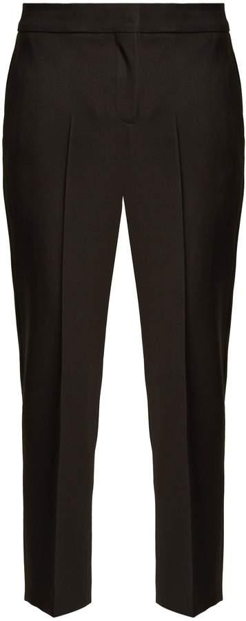 Alexander McQueen High-rise slim-leg cropped wool trousers
