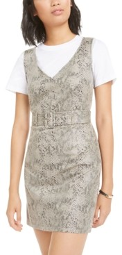 Bar III Faux-Suede Snake-Embossed Dress, Created for Macy's