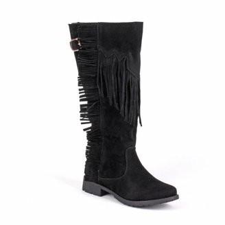 Nature Breeze Women's Knee High Fringe Boots