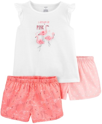 Carter's Girls 4-14 Flamingo Top and Pattern Shorts Pajama Set