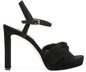 Alice + Olivia Women's Bailee Knotted Suede Ankle Strap Sandals