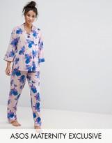 Asos Blue Floral Shirt & Pajama Set