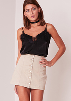 Missy Empire Layla Beige Denim Button Up Mini Skirt