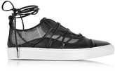 DSQUARED2 Black Mesh and Leather Slip on Riri Sneakers