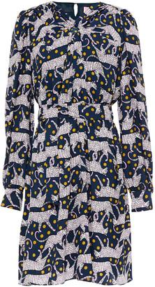 Kate Spade Gathered Printed Stretch-crepe Mini Dress