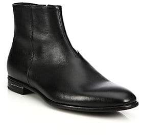 Prada Men's Saffiano Leather Ankle Boots