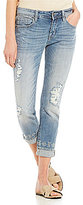 Miss Me Destructed Embroidered Roll-Cuff Stretch Boyfriend Ankle Jeans