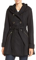 Jessica Simpson Women's Double Breasted Hooded Trench Coat
