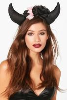 boohoo Womens Floral Devil Horns Headband in Black size One Size