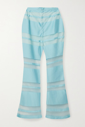 Cult Gaia Vivien Striped Satin-jacquard Flared Pants - Light blue
