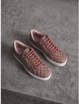 Burberry Check-quilted Leather Trainers , Size: 35.5, Pink