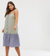 Asos DESIGN Curve button through midi smock sundress in mixed stripe