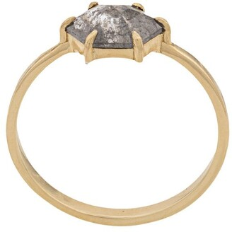 Niza Huang 18kt Gold Hexagon And Rose Cut Grey Pear Diamond Ring