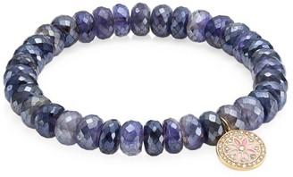 Sydney Evan 14K Yellow Gold, Diamond & Iolite Kaleidoscope Charm Beaded Bracelet