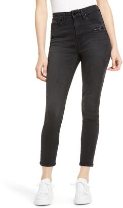 Good American Good Waist Ripped High Waist Crop Jeans