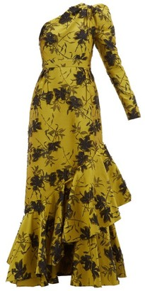 Erdem Doriana Floral-jacquard Fil-coupe Satin Gown - Yellow